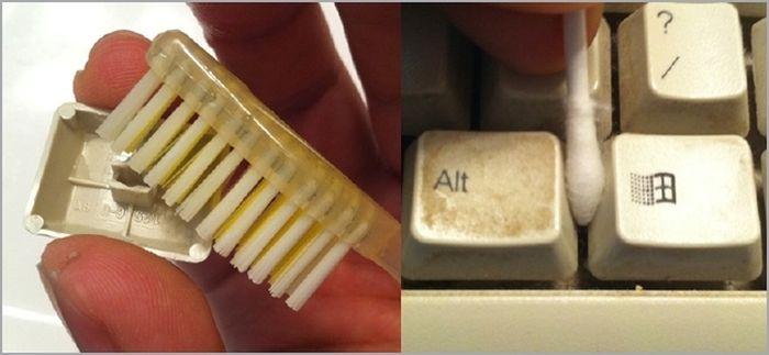 limpieza de teclado de computadora