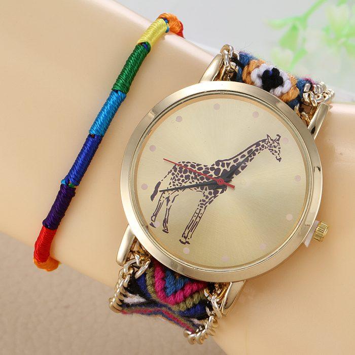 reloj con impresión de jirafa