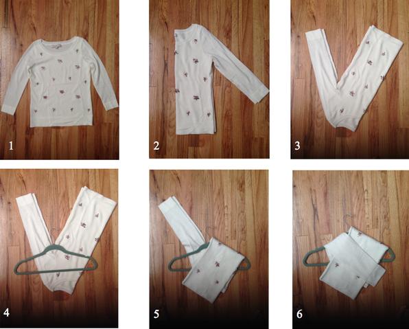 cómo doblar suéteres para colgarlos en ganchos