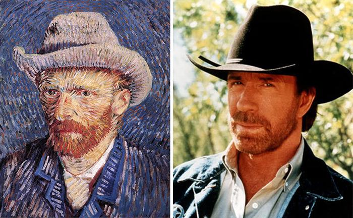 pintura de Van Gogh y Chuck Norris