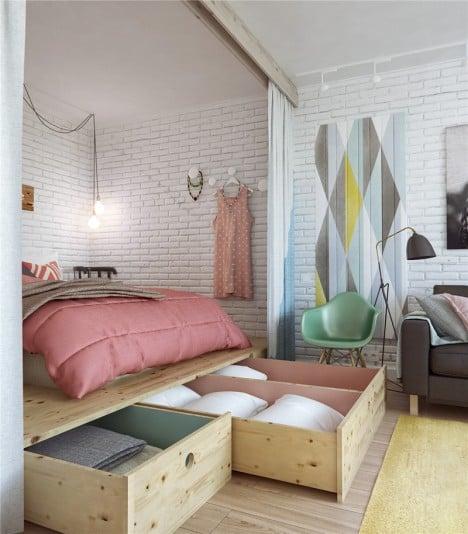 compartimentos ocultos en base de cama