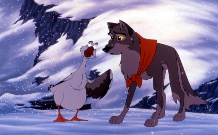 dibujos animados ganzo y perro husky balto