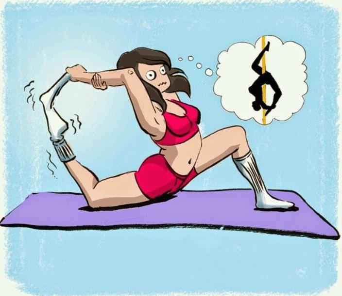 ilustracion chica con calcetín haciendo poses de flexibiliad
