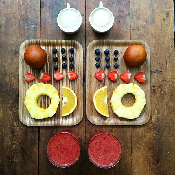 platos con fruta simétricos