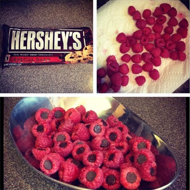 chocolates hershey's en frambuesas