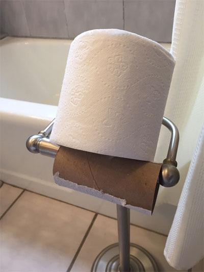 papel higiénico sobre cartón vacío