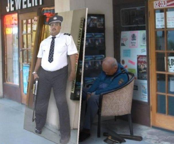 guardia dormido detrás de afiche