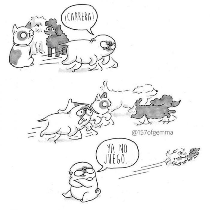 ilustracion de perro pug
