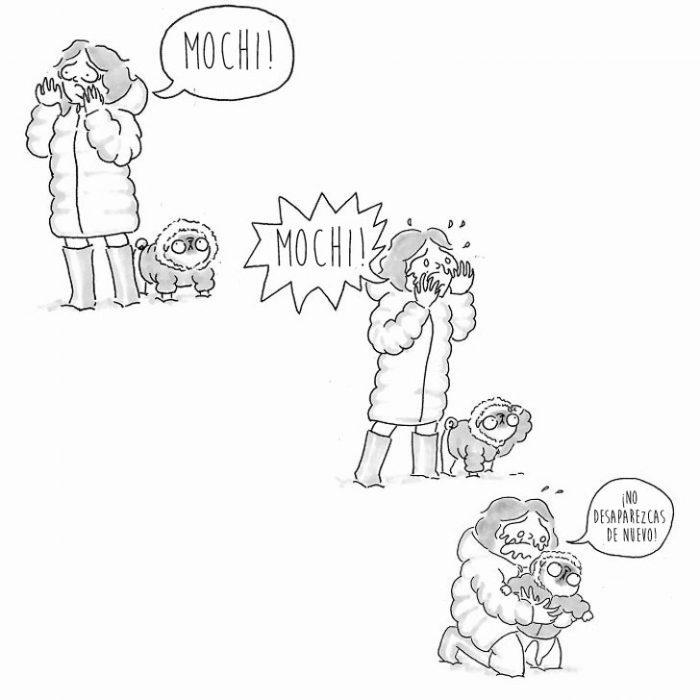 ilustracion de dueña y perro pug