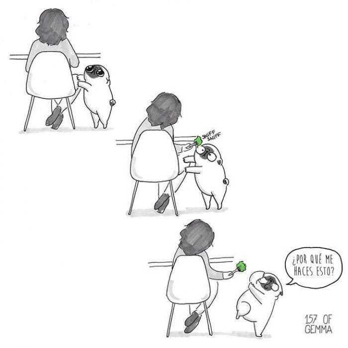 ilustracion de perro pug y dueña comiendo