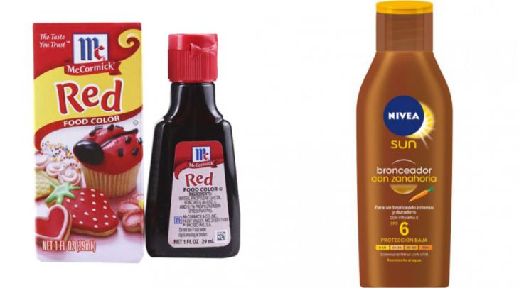 crema bronceadora y colorante vegetal rojo