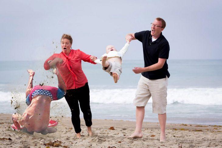 Efron caída en la playa