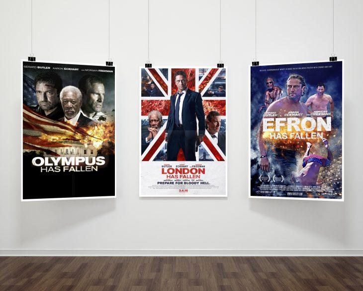 Poster en el cine de Efron Has fallen
