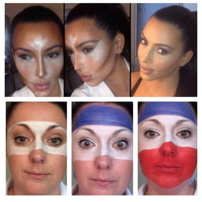 Celeste Barber imitando a kim kardashian cuando se maquilla