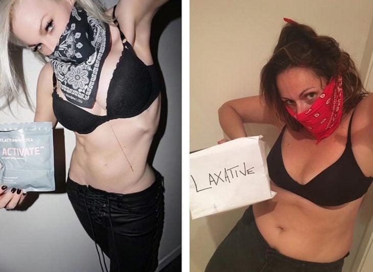 Celeste Barber imitando a una chica que hace ejercicio