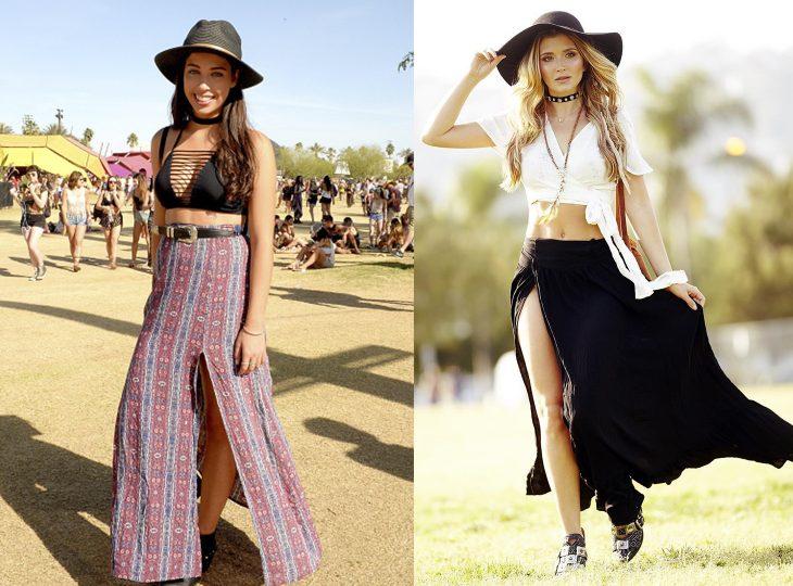 Chicas en el festival de coachella usando una falda con abertura hasta el muslo