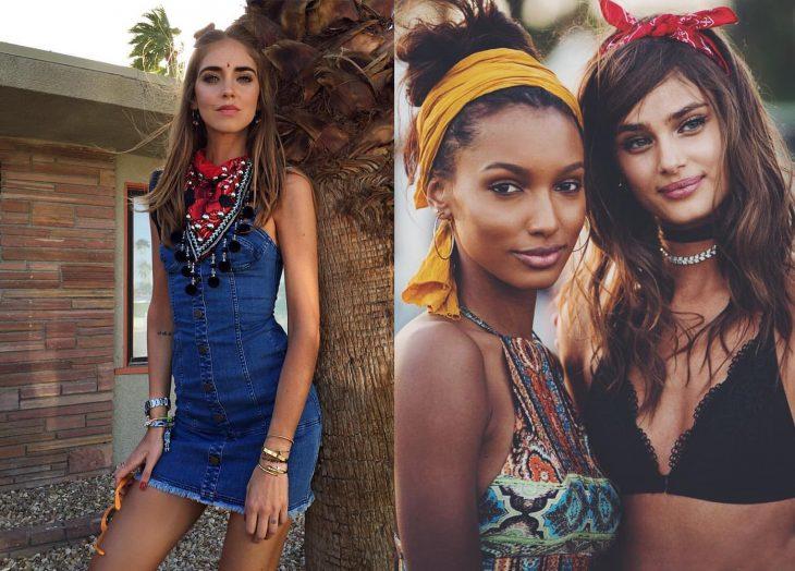 Chicas usando un pañuelo en el festival de coachella 2016