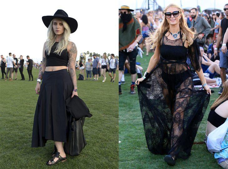 Chicas usando vestidos negros en el festival de coachella 2016