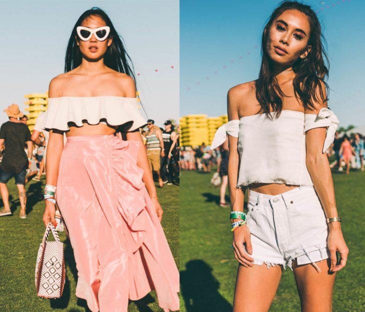 Chicas en el festival de coachella usando blusas con los hombros al descubierto