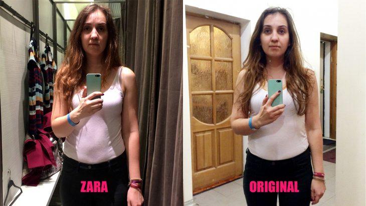 Chica parada frente al espejo viendo como luce en los probadores de la tienda zara