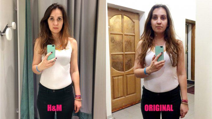 Chica parada frente al espejo viendo como luce en los probadores de la tienda H&M
