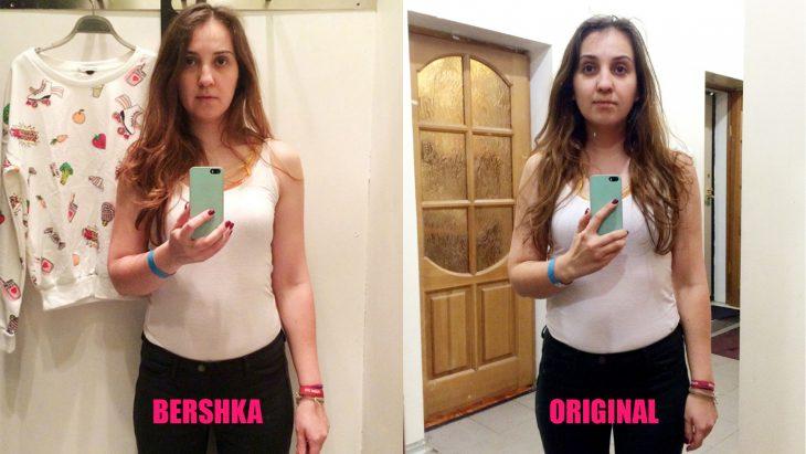Chica parada frente al espejo viendo como luce en los probadores de la tienda Bershka