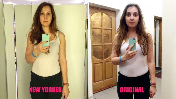Chica parada frente al espejo viendo como luce en los probadores de la tienda new yorker