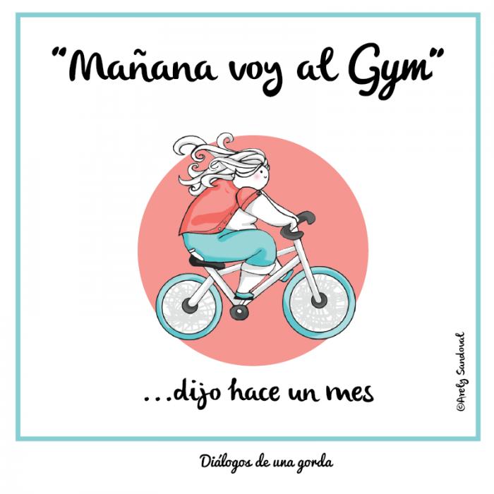 Ilustraciones de una chica gordita en bicicleta
