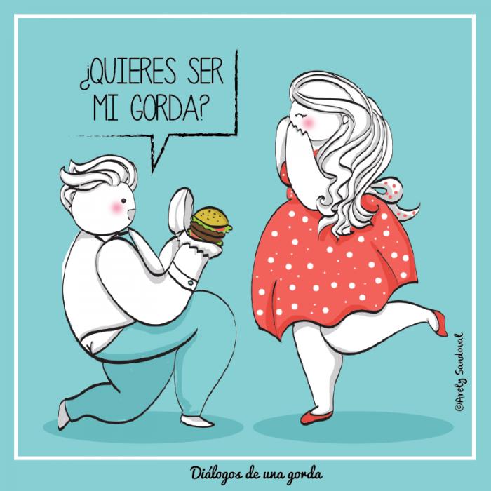 Ilustraciones de una chica gordita recibiendo una hamburguesa