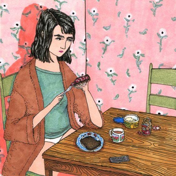 Ilustraciones Sally Nixon chica comiendo un emparedado