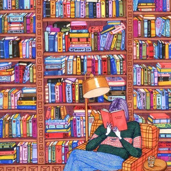 Ilustraciones Sally Nixon chica leyendo un libro
