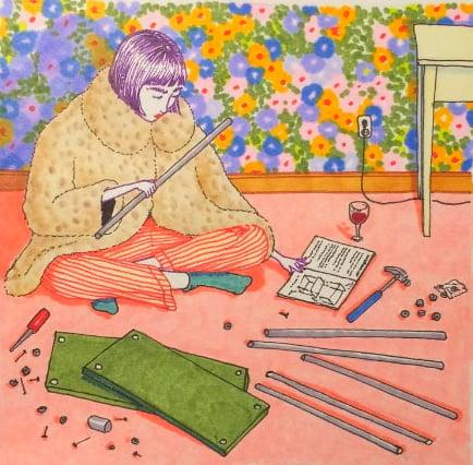 Ilustraciones Sally Nixon chica sentada en el suelo armando un mueble