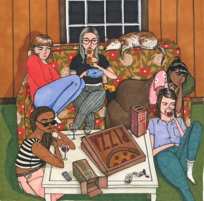 Ilustraciones Sally Nixon. Chicas sentadas en una sala comiendo pizza