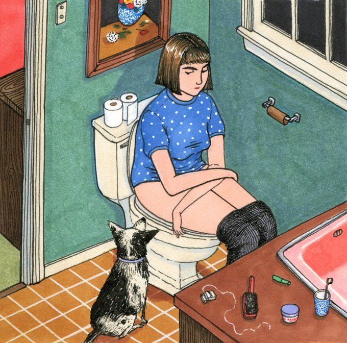 Ilustraciones Sally Nixon chica sentada en el inodoro
