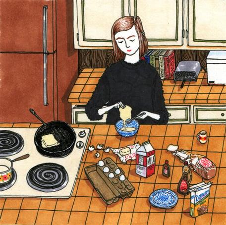 Ilustraciones Sally Nixon chica preparando el desayuno