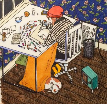Ilustraciones Sally Nixon chica dibujando en su habitación