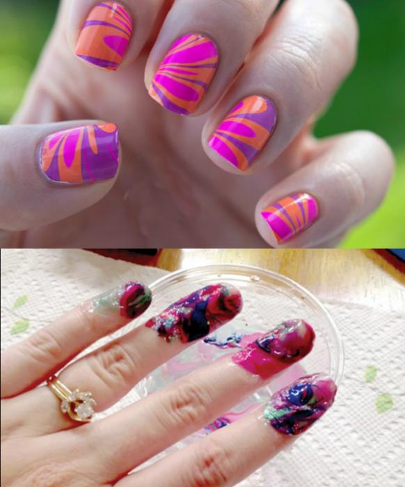 uñas de diseños y mano con uñas manchadas fail