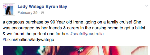 Comentarios en facebook de la tienda que vendió un bikini a una mujer de 90 años