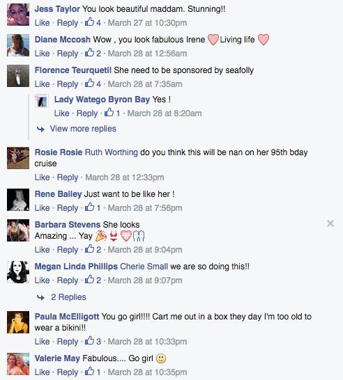 Comentarios en facebook de una mujer de 90 años usando un bikini