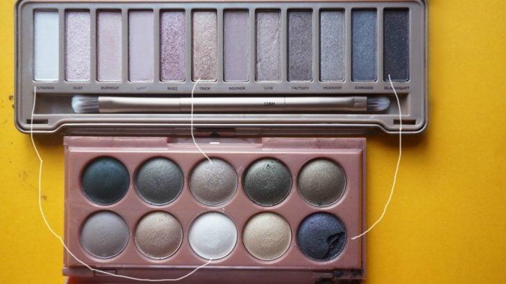 paleta de sombras y maquillaje colores café