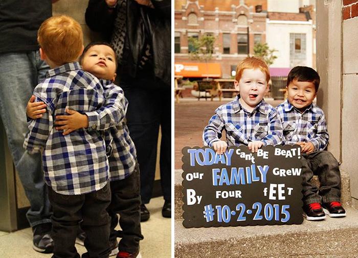 La familia crece con dos niños adoptados