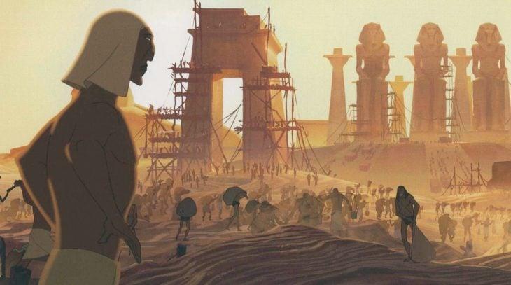 dibujos animados hombre egipcio y contrsuccion