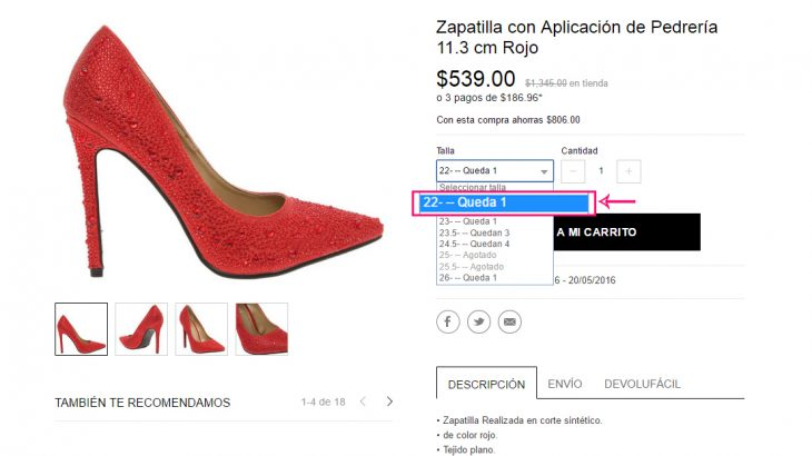 captura compra de zapatos en línea