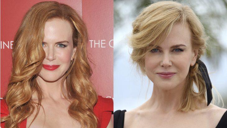 Nikole Kidman con el cabello rubio y después castaño