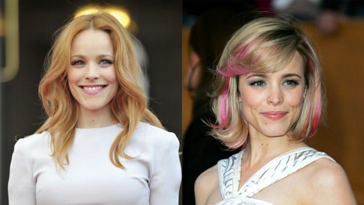 Rachel McAdams con el cabello naranja y después rubio con mechas rosas