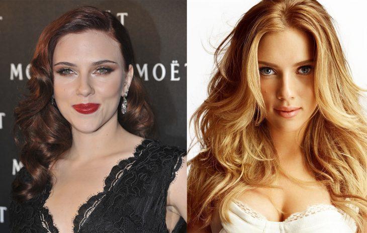 Scarlett Johanson con el cabello rojo y después en color rubio
