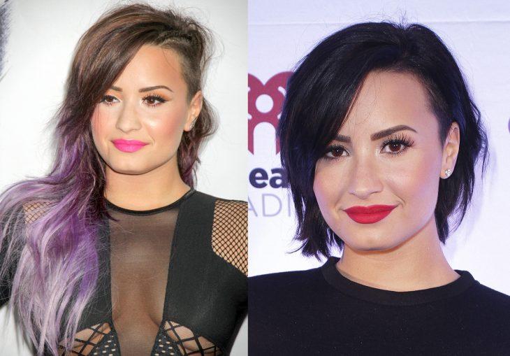 Demi Lovato con el cabello morado y después negro y rapado de un lado
