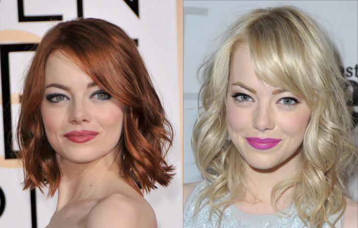 Emma Stone con el cabello rubio y después rojo