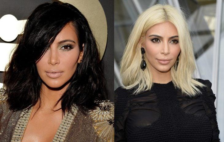 Kim Kardashian con el cabello rubio y después negro
