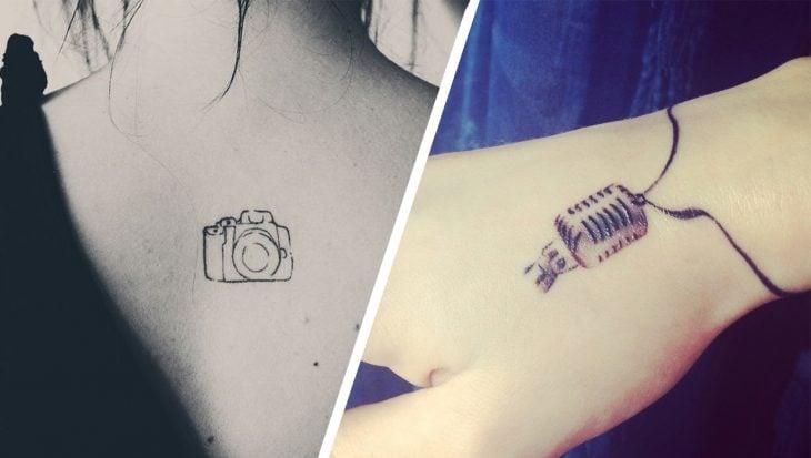 Tatuaje micrófono y cámara para comunicólogos